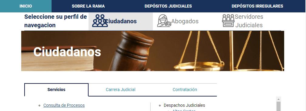 Click ciudadanos y Click Consulta de Procesos